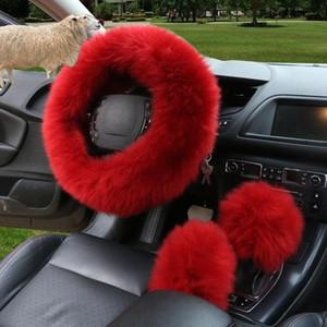 Adeeing d'hiver volant de voiture couverture longue laine en cuir Volant chauffant Enjoliveurs Voitures Général Accessoires Intérieur kSjZ n