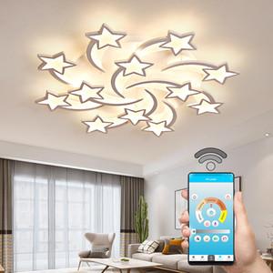 IRALAN moderne LED Lustres stars forme pour Salon Chambre à distance / support APP modèle lustre design Accueil ICFW1913