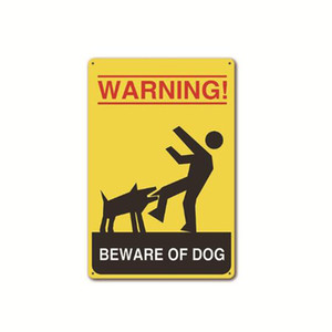 20*30cm Metal Signs Painting Caution Dogs Beware dogs Vintage Wall Stickers Art Decoration Iron Painting Plaque Home, Pet shop Wall Decor