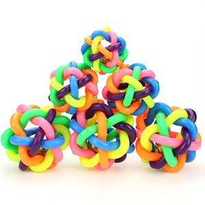 3 Size Pet Dog Cat Toy Colorful Rubber Round Ball with Small Bell Novelty Woven ball dog favorite