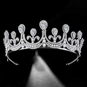 Fashion Wedding Bridal Tiara Shiny Rhinestone Princess Crown Silver Color Tiaras Luxury Women Headbands Hair Jewelry