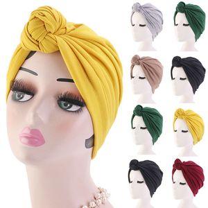 Las mujeres turbante superior del capó de algodón de color soild nudo interior Hijab tapas de las cabezas toque africano señoras de Headwrap envuelve la India Cap Hijabs Sombrero