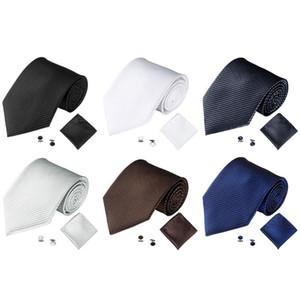 Solido Colore Neck Ties Cravatte Set Uomo Uomini affari Mens cravatta fazzoletto Gemelli da polso uomo Accessori per partito formale