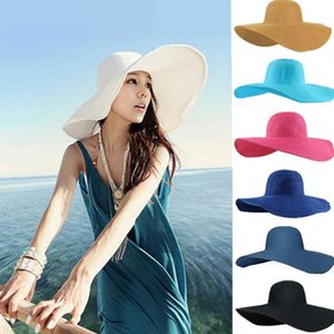 Beach Hat Woman Collapsible Large-brimmed Hats Sea Sun Cap Beanie Pure Color Straw Caps Outdoor Vacations Summer Fashion Hats OOA8485