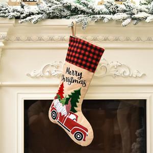 Creative Santa Claus Christmas Socks Cartoon Cute Candy Gift Bags Personality Christmas Tree Pendant Festive Party Supplies AHF3335