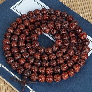 w2RlO Zâmbia sandália imitação lobular Rosewood indiano carving pequeno Lotus pulseira de madeira sólida bracelete esculpido