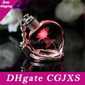 Nouvelle Fée Crystal Rose Place Cristal Led Lumière Keychain Amour Coeur Porte-clé anneau porte-clés pour cadeau Q0895