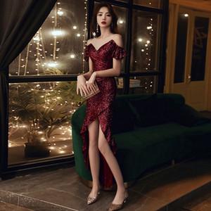 Z1iD6 noir pour les femmes de robe de soirée jupe Fishtail robe de soirée 2020 nouveau tempérament banquet dîner Noble petit lightQueen jupe en queue de poisson