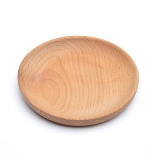 Rundholzteller Teller Dessert Gebäck Teller Schüssel Obst Platter Teller Tea Server Tray Holz-Becherhalter-Bowl-Auflage Geschirr Mat DBC VT1578