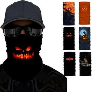 Halloween magique Turban Bandeaux Masques de visage de citrouille Sports de plein air Skeleton Fantôme cou Echarpes Bandeau vélo Masque Visage Masques Parti HWE991