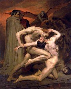 Dream-Kunst-Ölgemälde Dante und Vergil in der Hölle Man fress Dämon stark NUDES Wand-Dekor-Ölgemälde auf Leinwand-Wand-Kunst 200826