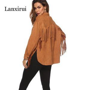 New veste frangée en cachemire à manches longues femmes printemps été Plus Pardessus Outwear Mode Femme chaud manteau coupe-vent