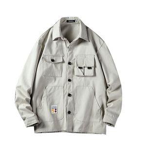 Les hommes japonais Streetwear Cargo Pocket Jacket Plus Size en vrac extérieur Salopette solide Manteaux Automne Slim Fit Hauts pour hommes