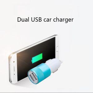 General Propósito Cargadores de automóviles Pequeño Pistola de acero Metal Doble USB Aleación de aluminio Cargador de coche 2A Tableta Tableta Smart Phone para iPhone 11 Cargador de coche