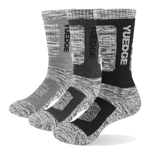 YUEDGE Brand 3 Pairs Men Cotton Cushion Casual Breathable Sports Trekking Hiking Crew Socks Winter Warm Thermal Socks 38-45 EU 200924