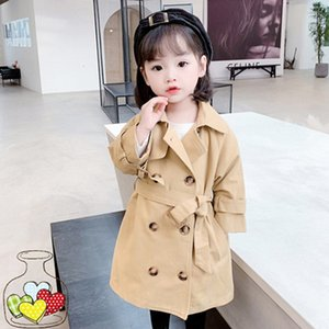 DFXD England Style Autumn Children Girl Windbreaker Fashion Long Solid Khaki Double-breasted Trench Coat Toddler Girls Jackets
