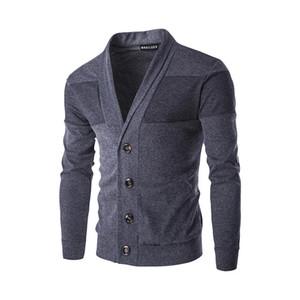 2020 Frühlings-Herbst-Männer Pullover Mantel Mens Fashion dünne feste Einreiher Strickjacke Männer Langarm gestrickte Wintermäntel