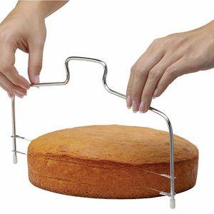 1PC New Double Line Регулируемая Выпечка Инструменты DIY Плесень нержавеющей стали торт инструменты торт Хлеб Slicer Cutter Струны нож