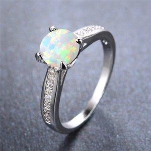 جولة الحجر الدائري أزرق أبيض النار خواتم العقيق لطيف أنثى الصغيرة الزفاف للنساء سحر الزفاف الماس خاتم الخطوبة