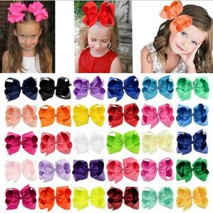 Kinder Mädchen Haarspangen Big fester Band-Haar-Bogen-Klipps Große Haarnadel Kinder-Haar-Accessoires 6 Zoll 30 Farben