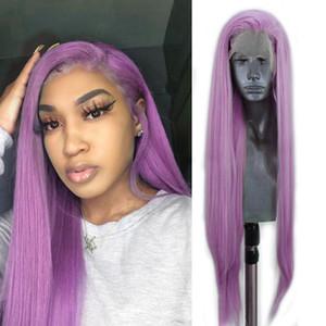 Alta Temperatura pelo sintético de la peluca del frente del cordón peluca púrpura cosplay pelucas de pelo largo recto de calor resistente a las pelucas para las mujeres