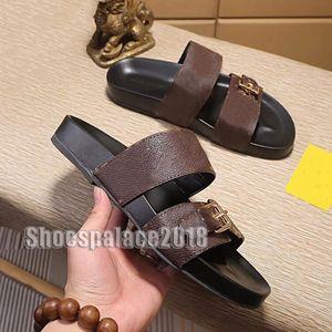 Paris Kaydırıcılar Womens Yaz Sandalet Plaj Terlik Bayanlar Ayaklı Box ile loafer'lar Klasik Mono gram Slaytlar Kahverengi Chaussures Ayakkabı Floplar