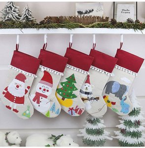 Christmas Linen Stocking Santa Xmas Tree Hanging Socks Xmas Kids Gifts Storage Bags Christmas Tree Pendant Gift Bag w-00260