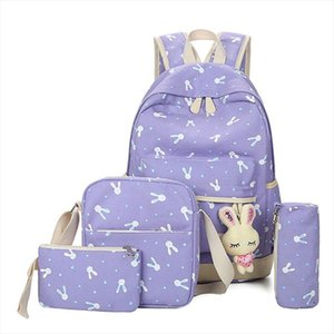 School Bags 4Pcs Sets 2019 Cartoon Rabbit Printing School bag Canvas Schoolbags for Teenage Cute Girls Bookbag Children