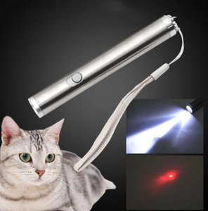LED Cat Toys 2 in 1 Cat LED Chase Toys Laser Pointer Pen stainless steel red laser Flashlight Pen portable emergency torch lamp lights