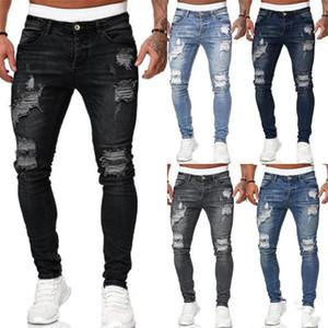 Fori Distrressed Slim Jeans Uomo Casual Stretch metà di vita epoca lungo Homme Jeans Designer Mens Jeans