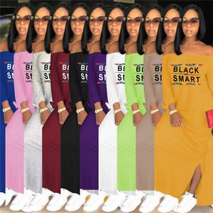 Fashion Women Dress Black Smart Letter Print Long Sleeve Slash Neck Dresses Summer Autumn Split Dresses Loose Long Skirt Clothes 10 Color