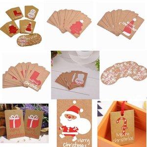 Festival de Invierno de Navidad Tarjetas de Saludo regalos del día de fiesta de invitaciones Feliz decoración en rojo del sombrero de Santa del árbol de navidad del copo de nieve OWC904