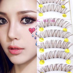 Brown false eyelashes natural lifelike pure long eyelashes makeup cross 10 pairs pure manual package