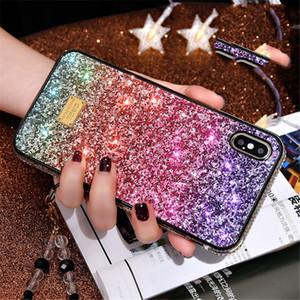 Luxus-Designer Bling Diamantrhinestone-Glitter-rückseitige Abdeckung Telefon-Kasten für iPhone Xsmax xr xs 8 7 Plus-Bling-Hüllen