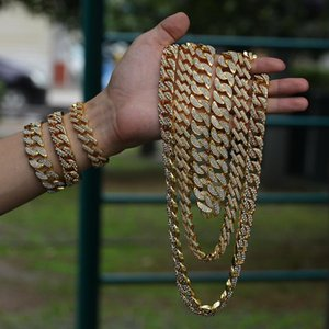 Avrupa ve Amerika Birleşik Devletleri yeni erkek alaşım 18K altın kaplama Ay çivili 17mm taş Miami Küba zincir hip hop bilezik kolye abartılı