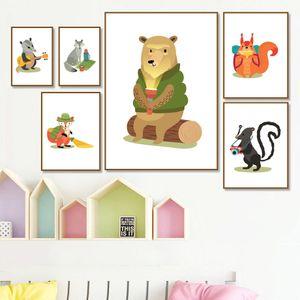 숲 동물 곰 여우 다람쥐 늑대 보육 벽 예술 캔버스 북유럽 포스터와 인쇄 벽 그림 아이 방 장식 회화