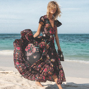 2020 New Women Summer Boho Beach Maxi Dress Sexy V Neck Vintage Print Long Dresses Casual Sundress Dress Vestidos