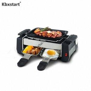 1000W антипригарным Гриль Электрический Raclette Гриль для 2 пар партия семьи бездымного Гриль барбекю Raclette Pan Electric Мясная Xxe2 #