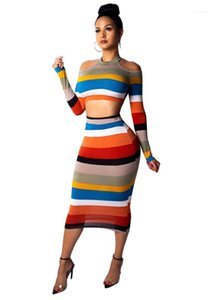 Long Sleeve Crop Top Mid-Calf Dress Women Designer Clothes Women Two Piece Dresses Fashion Striped Colorful Suits Sexy