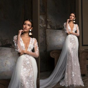 Berta Deep V Neck Sexy Mermaid Wedding Dresses Sheer Long Sleeve Lace Appliques Bridal Gown Detachable Tulle Train Vestido de Novia