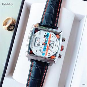 Top Mens relógio mecânico multifuncional Dial Square Cronômetro Homens Casual relógio pulseira de couro relógios Hot Itens montres pour hommes