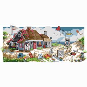 patrones de punto de cruz de promoción de artesanía pared paisaje contado DIY aguja de bordado pintura kits hechos a mano decoración de la casa de la pared fotos