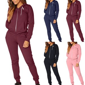 Loozykit Kadınlar Sportwear Seti Katı Renk Eşofman Tişörtü Fleece Koşucular Seti Kalın Ve İnce Sonbahar Kış Running 2 parçalı