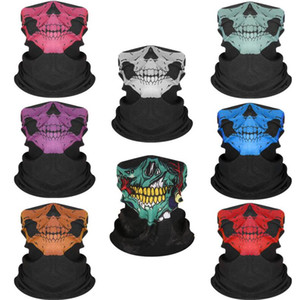 INS Scary Skull Half Scarf Tube Bandanas Hallowmas Fashion Face Mask Headband Cycling Fishing Masks Magic Scarves Ski Neckcheif Wraps E81102