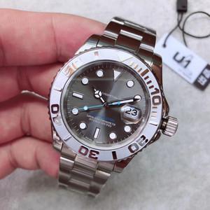U1 fábrica nova chegam relógio yatch homens de pulso de alta qualidade automático 40mm azul cinza branco discar 126622 fecho original safira vidro