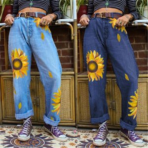 Pantaloni Designer Nuovo media Femmina Zipper Vita casual Denim pantaloni signore grandi crisantemo Jeans Fashion Trend Via Pocket Etero
