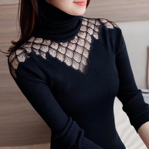 Sweater Women Turtleneck 2020 Autumn Winter New Style Pullover Lace Knitted Shirts Sexy See Through Splice Tops Sweaters Blusas
