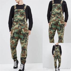 Calças Jeans Macacões Moda slim longo macho Camouflage Denim Mens Macacões Designer Impresso