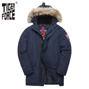 TIGER FORCE Alaska Winter-Jacke für Männer Parka Wasserdichte verdicken Mantel-Jacken mit Echtpelzhaube Männlich Snowjacke Outwear 200922