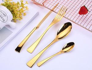 Aço faca de aço inoxidável Oeste Louça inoxidável Fork Colher 4 Pieces Set criativa de titânio presente Louça ouro